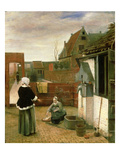 A Woman and a Maid in a Courtyard  C1660-61 (Oil on Canvas)