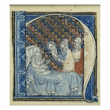 Historiated Initial 'H' Depicting the Birth of the Virgin  C1320-30 (Vellum)