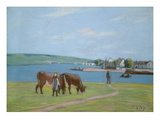 Cows on the Banks of the Seine at Saint-Mammes (Pastel)