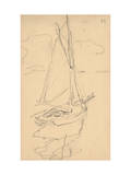 Small Yacht on the Norman Coast (Pencil on Paper) Reproduction d'art par Claude Monet