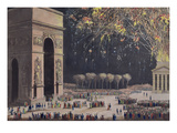 View of the Arc De Triomphe with Fireworks  1810 (Coloured Aquatint)