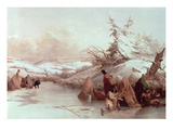 Spearing Fish in Winter (Oil on Canvas)