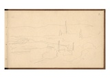 Rouen Seen from Sainte-Catherine Hillside (Pencil on Paper)