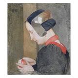 Portrait of a Lady Peeling an Apple (Tempera on Gessoed Panel)