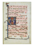 Historiated Letter Depicting an Assembly of Apostles  Early 14th (Vellum)