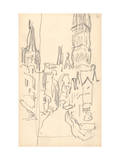 Rouen Cathedral  the Calende Portal and the Central Tower (Pencil on Paper)
