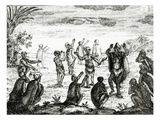 The Hottentots Worship the Moon  Illustration from 'The Present State of the Cape of Good-Hope'