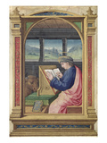 St Luke Writing  from a Book of Hours (Vellum)