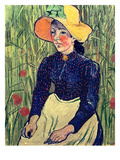 Young Peasant Girl in a Straw Hat Sitting in Front of a Wheatfield  1890 (Oil on Canvas)