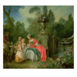 A Lady and a Gentleman in the Garden with Two Children c 1742