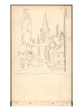 Rouen Cathedral Seen from Rue De L&#39;Epicerie (Pencil on Paper)