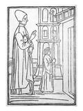 Lorenzo Giustiniani  Frontispiece to 'Doctrina Della Vita Monastica'  1494 (Woodcut)