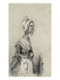 Old Woman from Normandy in Profile  1857 (Pencil on Paper)
