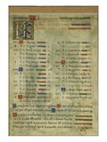Calendar Page for October  from a Book of Hours  C1550-60 (Vellum)
