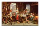 Kitchen Scene with the Parable of the Feast (Oil on Canvas)