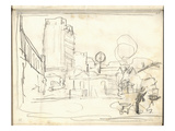 Exterior of the Gare Saint-Lazare (Pencil on Paper)