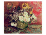 Sunflowers  Roses and Other Flowers in a Bowl  1886 (Oil on Canvas)