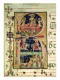 Historiated Initial 'R' Depicting the Resurrection  Two Knight Saints and a Bishop Saint