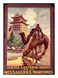 Camels Watering in Front of the Gates of Pekin  Poster Advertising the 'Messageries Maritimes'