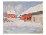 Norway  Red Houses at Bjornegaard  1895 (Oil on Canvas)