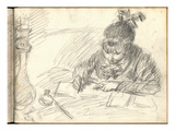 Germaine Hoschede (1873-1968) Writing (Pencil on Paper)