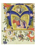 Initial 'A' Depicting Jesus Christ and a Saint  Early 14th (Vellum)