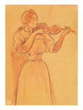 The Violin  1894 (Pencil and Red Chalk on Paper)