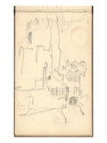 Saint-Romain Tower and Albane Yard (Pencil on Paper)