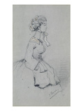 Young Woman with a Ribbon  1857 (Charcoal and Pastel on Paper)