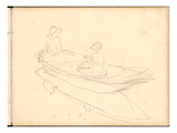 Two Women Boating on the Epte (Pencil on Paper)