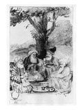 Four Orientals Seated under a Tree  C1659 (Pen  Ink and Wash on Paper)
