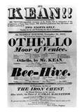 Theatre Bill Advertising Perfomances of Mr Kean  1818 (Printed Paper)