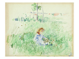 Young Girl Seated on the Lawn  1882 (W/C on Paper)