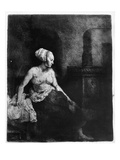 Woman Sitting Half-Dressed Beside a Stove  1658 (Etching)