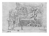 Death of Meleager (Black Pencil on Paper)