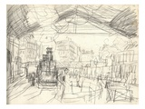 La Gare Saint-Lazare (On the Suburban Side) (Pencil on Paper)