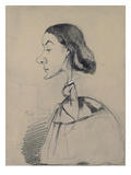 Young Woman at the Piano  1855-60 (Black Crayon Heightened with White Pastel on Paper)