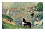 Horses in a River  C1883 (Panel) (Study for Baignade)