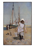 A Breton Fisher Girl (Oil on Panel)