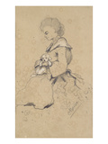 Women Holding a Small Dog  1857 (Black and White Chalk on Paper)