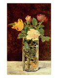 Roses and Tulips in a Vase  1883 (Oil on Canvas)