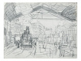Sketch of the Interior of the Gare Saint-Lazare (Pencil on Paper)