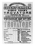 Playbill for the Royal Italian Opera at Covent Garden  1855 (Printed Paper)