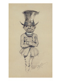 Groom in a Top Hat  1857 (Black and White Chalk on Paper)