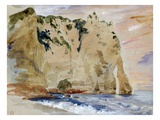 Cliffs of Etretat the Pied Du Cheval  1838 (W/C and Gouache on Paper)
