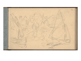 Sailing Boats in the Old Outer Harbour of Le Havre (Pencil on Paper)