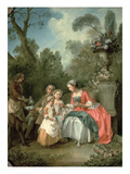 A Lady and a Gentleman in the Garden with Two Children C 1742 (Oil on Canvas) (Detail of 29887)