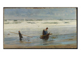 Gathering Driftwood  Holland  1877 (Oil on Canvas)