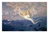 On the Wings of the Morning  1905 (W/C Heightened with Bodycolour and Gold Paint)