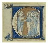 Historiated Initial 'E' Depicting Jesus Christ and the Apostles  C1320-30 (Vellum)